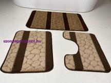 Fürdőszobai szőnyeg 3 részes - barna köves
