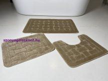 Fürdőszobai szőnyeg 3 részes - bézs téglás