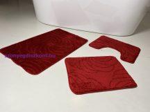 Fürdőszobai szőnyeg 3 részes - piros nagyvirág