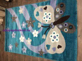 Sima 150x230cm nagy pillangós kék gyerek szőnyeg