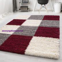 Ay life 1501 piros 200x290cm - kockás shaggy szőnyeg