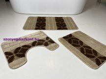 Fürdőszobai szőnyeg 3 részes - bézs sor körös